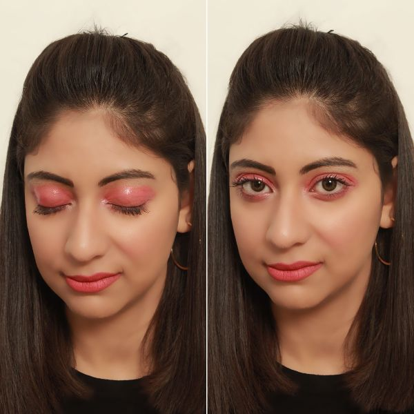 Makeup Look - Pink Glossy Lids Paired With Matte Pink Lips