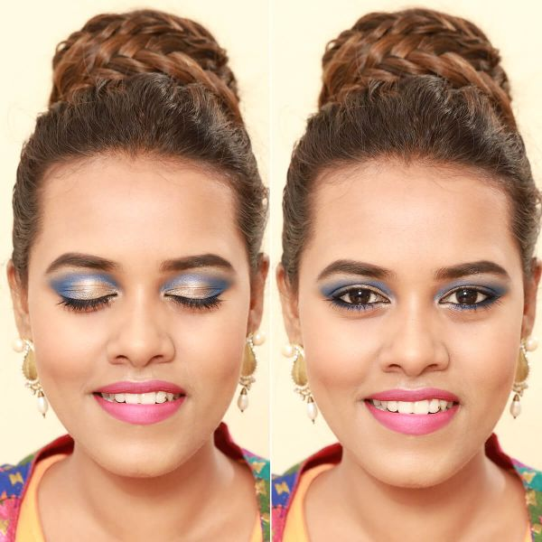 Golden Blue Eye Makeup Look