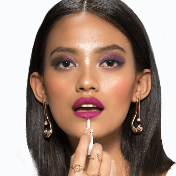 Purple Eyes Makeup Look With Fuchsia Pink lips