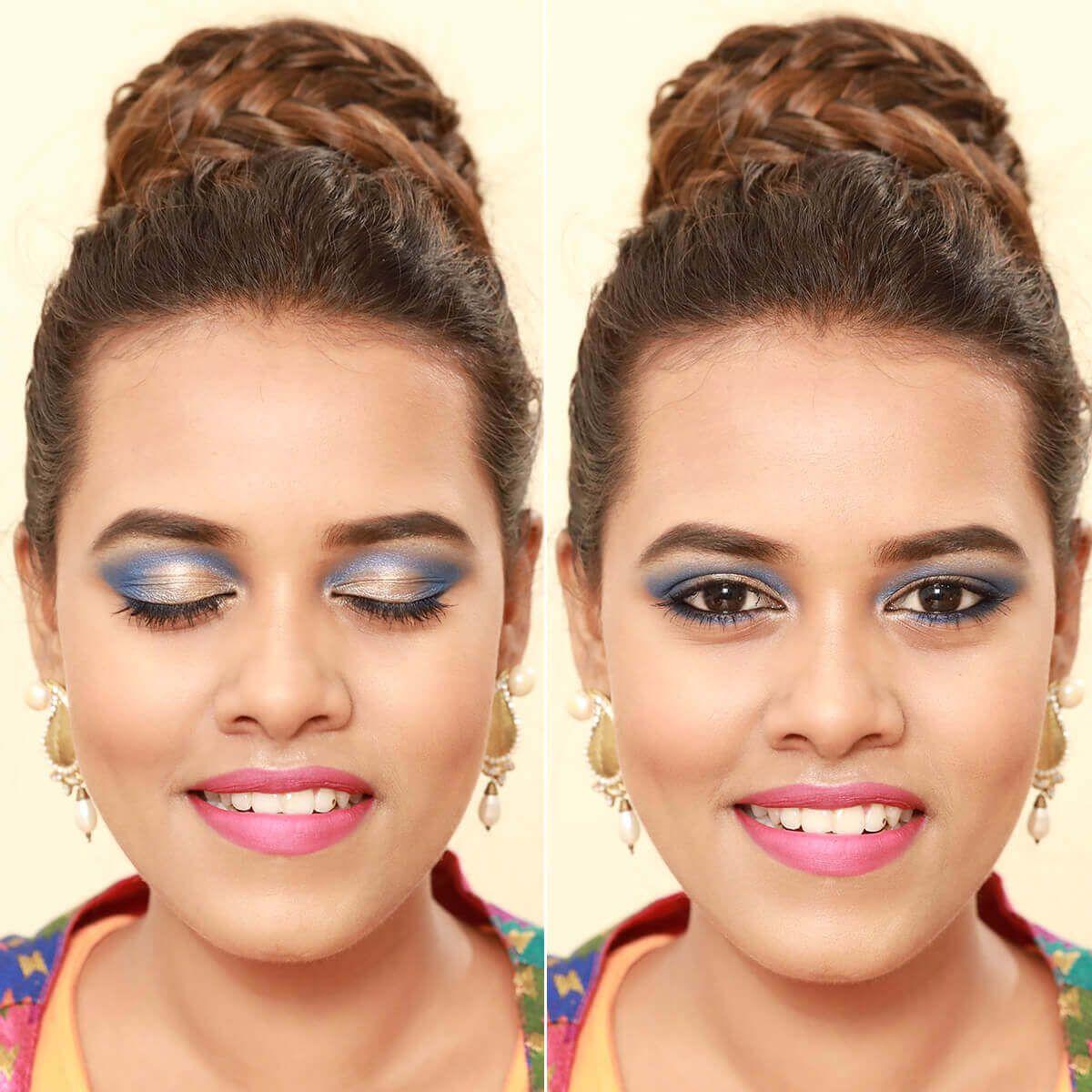 Golden Blue Eye Makeup Look